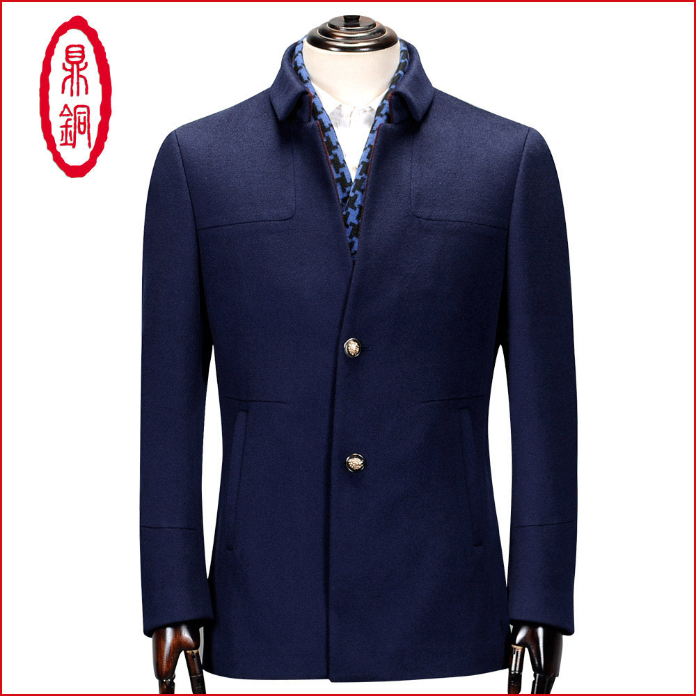 鼎铜羊毛外套男高端商务时尚翻领修身中长款100%纯羊毛呢夹克立领