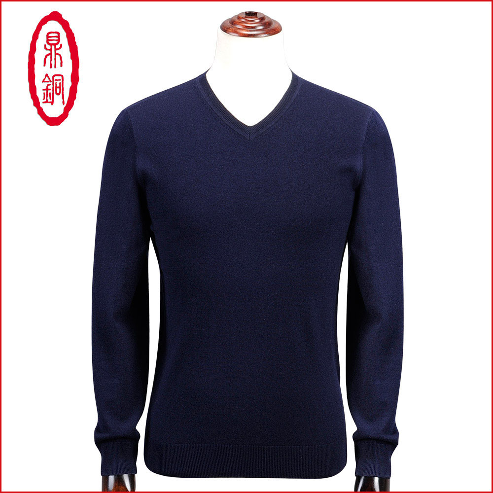 Custom spring new high end worsted 100% wool sweater fashion business V-neck pure color sweater