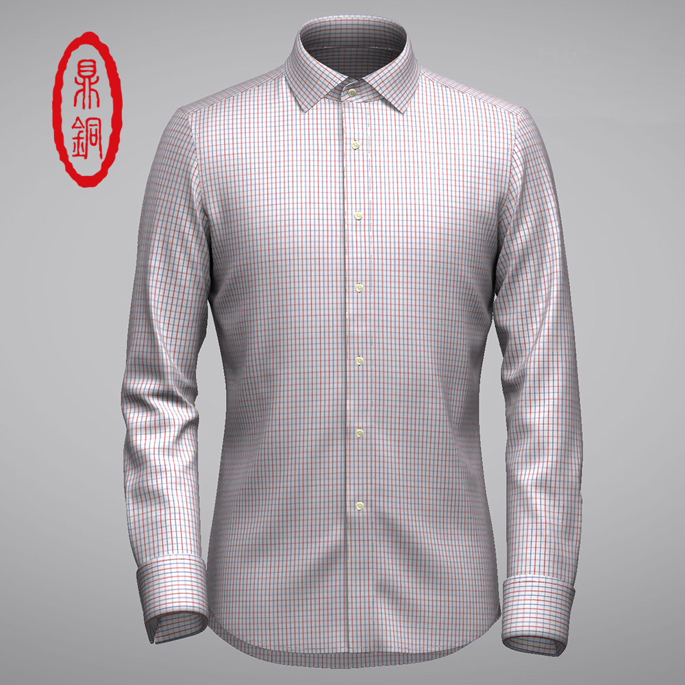 Dingtong spring and autumn high end pure cotton mens striped business shirt customized long sleeves can be customized