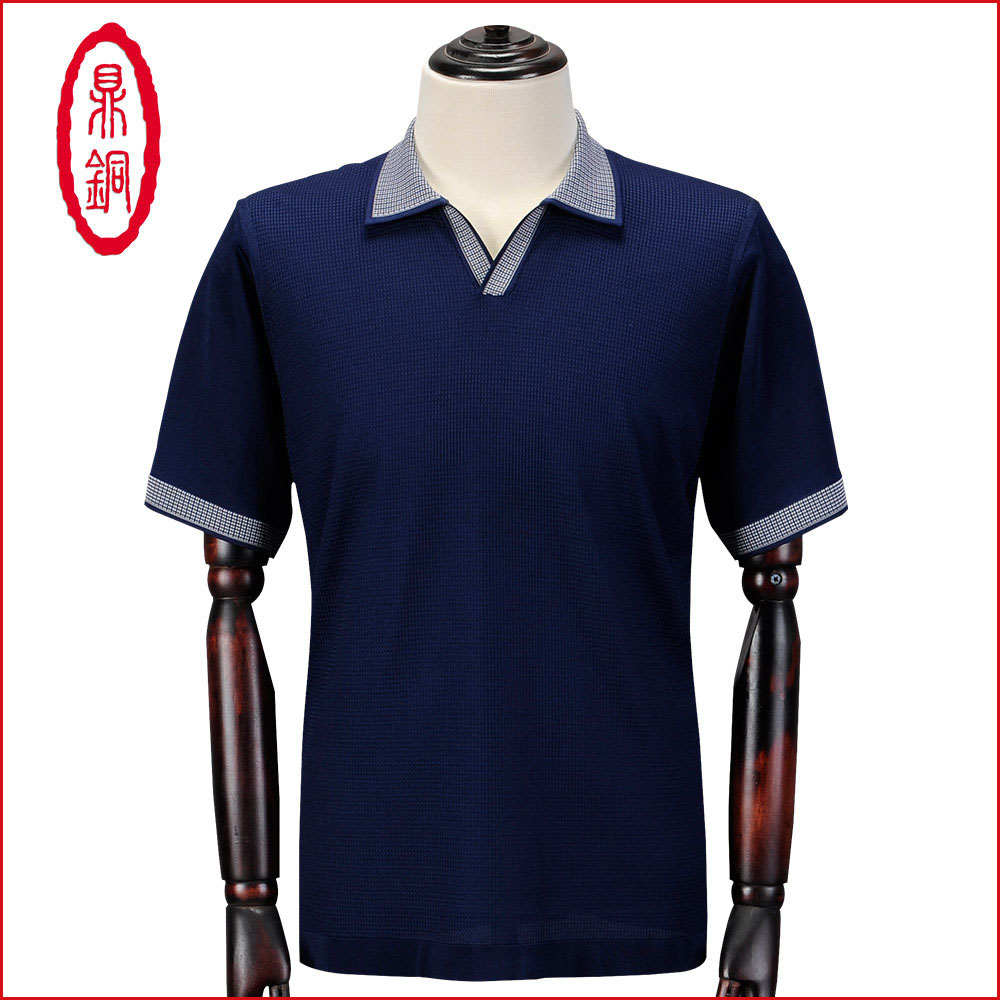 Dingtong V-neck summer new high-end mulberry silk T-shirt middle-aged and elderly business leisure Lapel real silk T-shirt