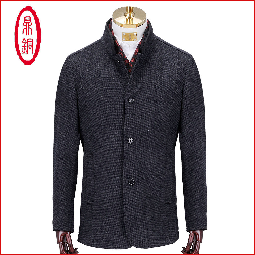 Ding copper wool overcoat middle-aged and elderly high-end luxury Rex rabbit fur collar collar slim fitting wool overcoat mens wear
