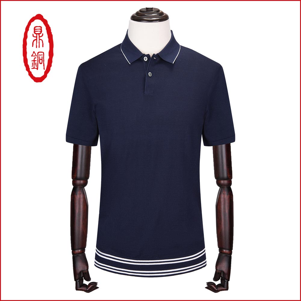 Dingtong summer short sleeve t-shirt mens middle age Lapel solid color leisure 2018 new silk thin half sleeve cotton T-shirt