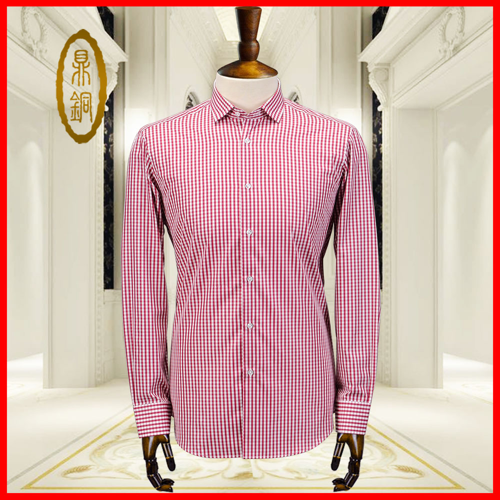 Mens Long Sleeve Shirt Custom mulberry silk casual simple versatile red and white stripe Plaid Shirt middle aged business background
