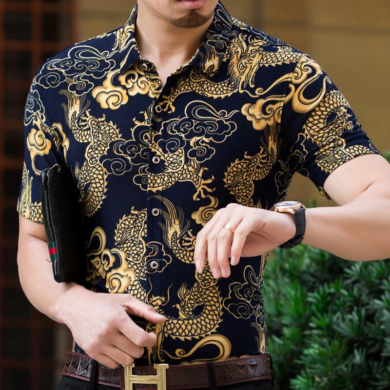 2018新款男士衬衫半袖上衣短袖花衬衫爸爸冰丝龙纹图案丝光棉衬衣