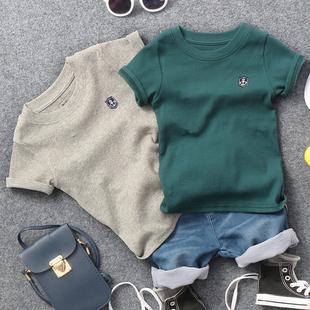 2021夏季新款儿童螺纹棉贴标短袖T恤男童女童宝宝2色半袖体恤衫潮