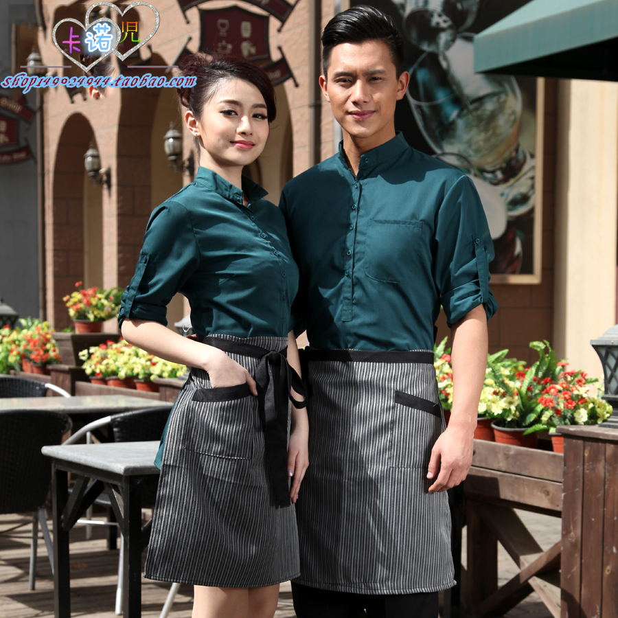 Hotel work clothes autumn and winter long short sleeve coffee shop western restaurant fast food restaurant waiter uniform for men and women
