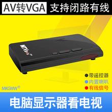 AV转VGA有线电视盒闭路视频用显示器看电视TV有线电视盒子带遥控RF射频信号支持14寸等小VGA显示屏内置喇叭