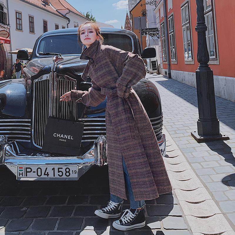 已出货 2019冬季新款 格子毛呢外套8605-A60-P165(控238)
