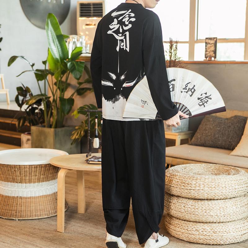 10月21日最新优惠2019秋季新款中国风男装棉麻长裤