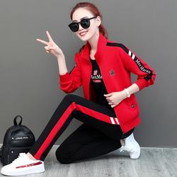 休闲运动服套装女2020春秋季新款潮牌时尚宽松大码女装卫衣三件套