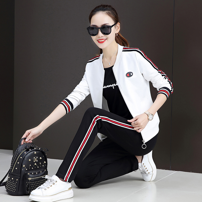 2018秋装新款韩版休闲女装长袖运动服套装女春秋卫衣三件套棒球服