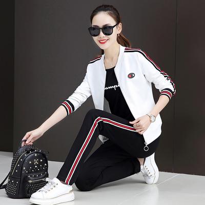 2018早秋新款韩版休闲女装长袖运动服套装女春秋卫衣三件套棒球服