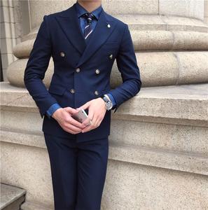 鹿三先生自制男士深蓝大枪驳领双排扣西服套装宴会主持婚礼西