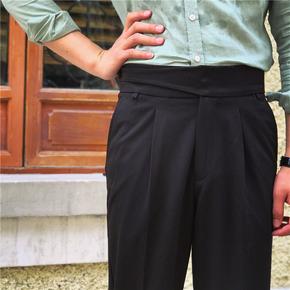 鹿三先生自制男士日常绅士高腰直筒休闲裤秋季青少年黑色长裤子潮