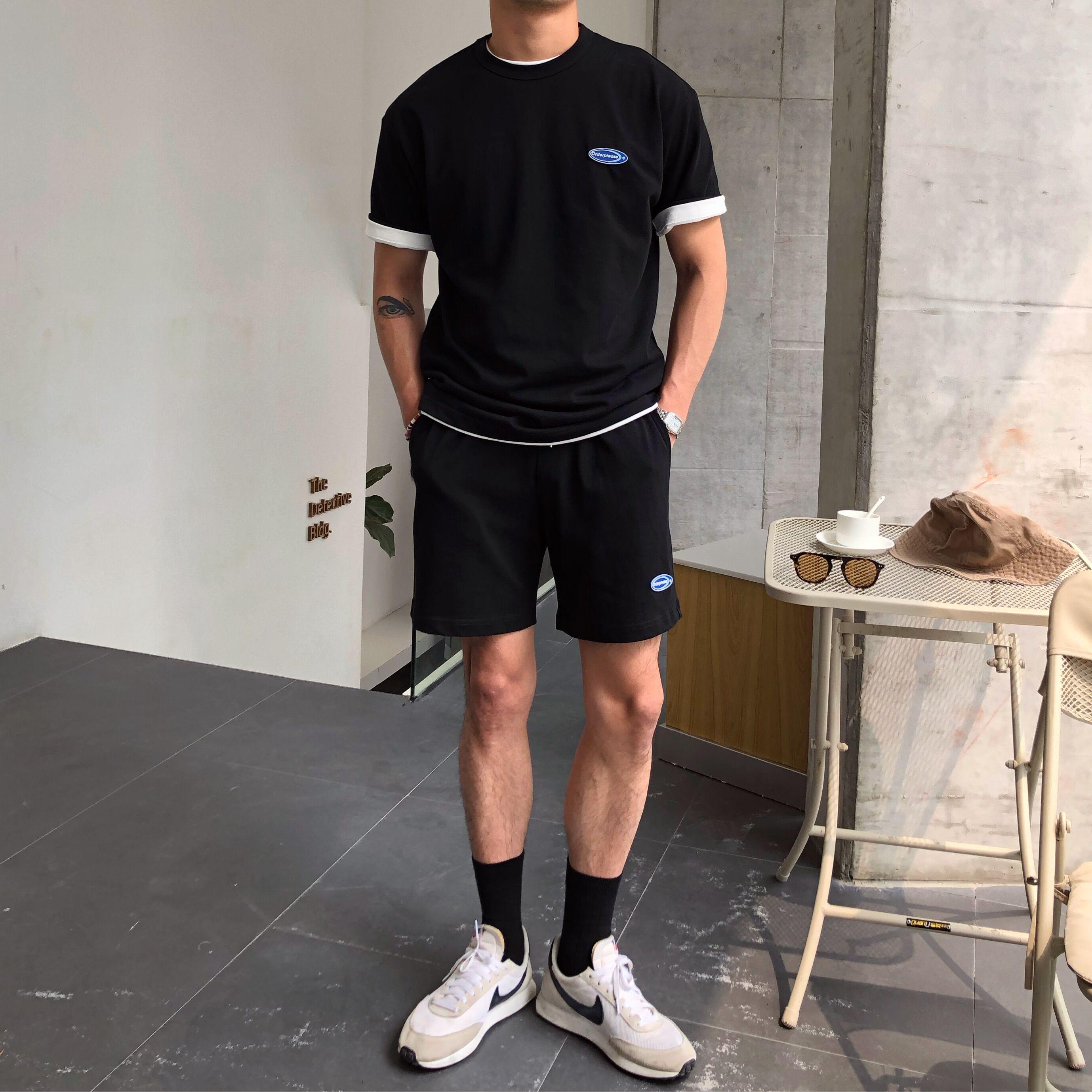 鹿三先生自制舒适透气小资潮男韩版日常百搭休闲短袖短裤运动套装