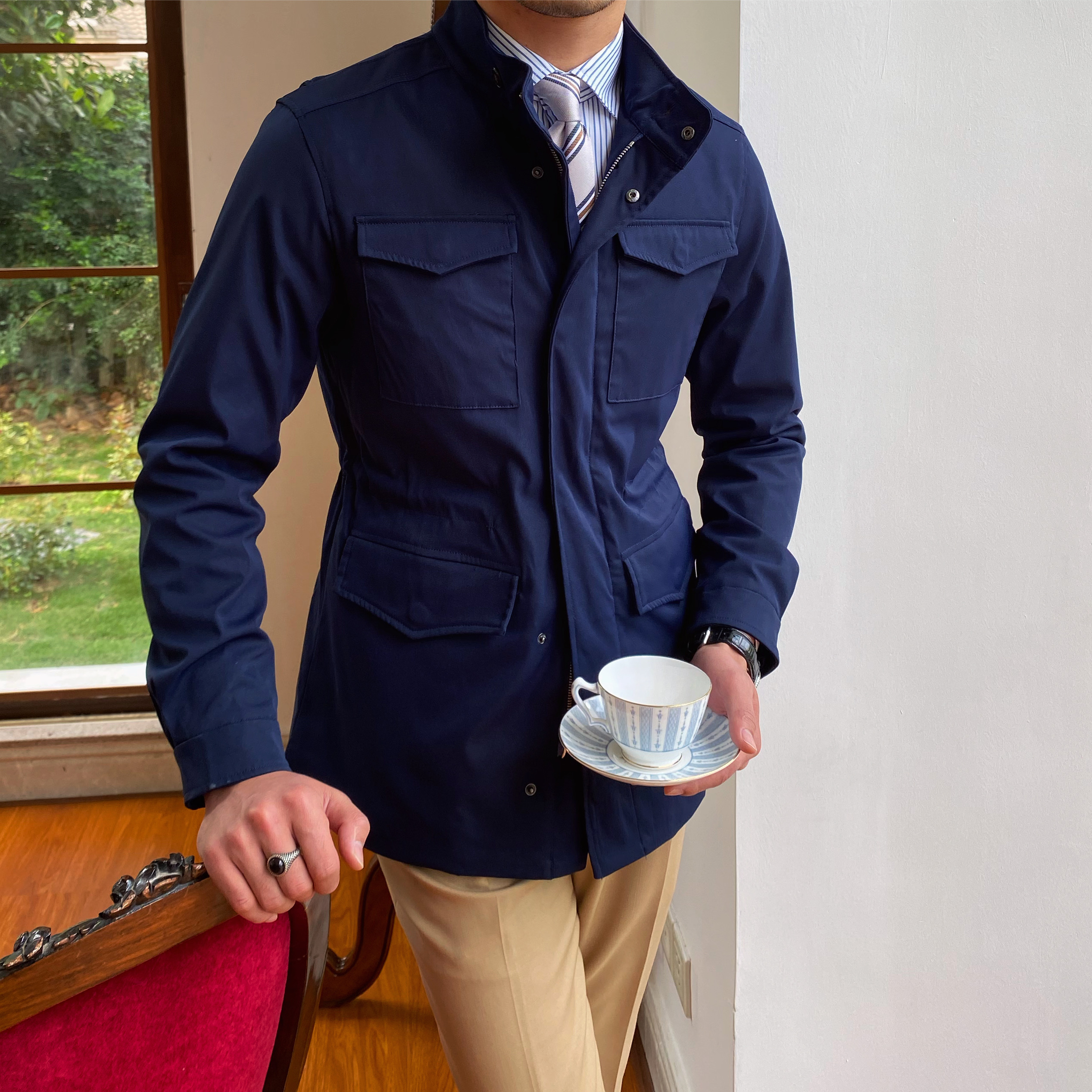 鹿三先生英伦m65男士立领猎装夹克纯色休闲商务春季复古外套潮男