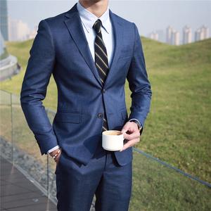鹿三先生韩版男装轻熟修身西装日系商务正装宴会高质感西服套装潮