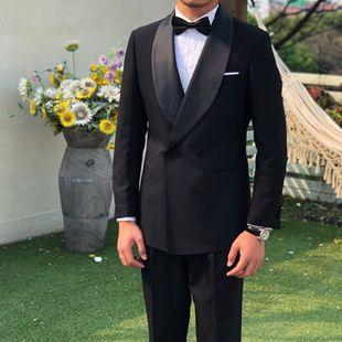 鹿三先生自制韩版休闲宴会西装青年时尚轻奢婚礼青果领礼服两件套