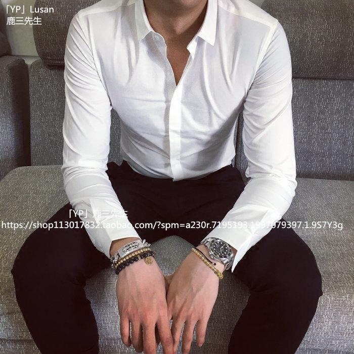 鹿三春长袖白衬衫男商务休闲衬衣免烫修身长袖衬衫薄款男纯色衬衫