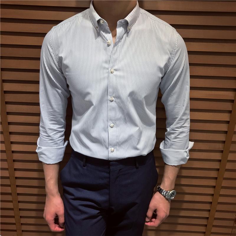鹿三先生男装商务修身条纹长袖衬衫英伦休闲复古衬衣韩版日系潮男