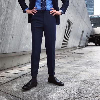 鹿三先生2020秋季新款韩版修身直筒裤男日常商务西裤休闲裤子潮男
