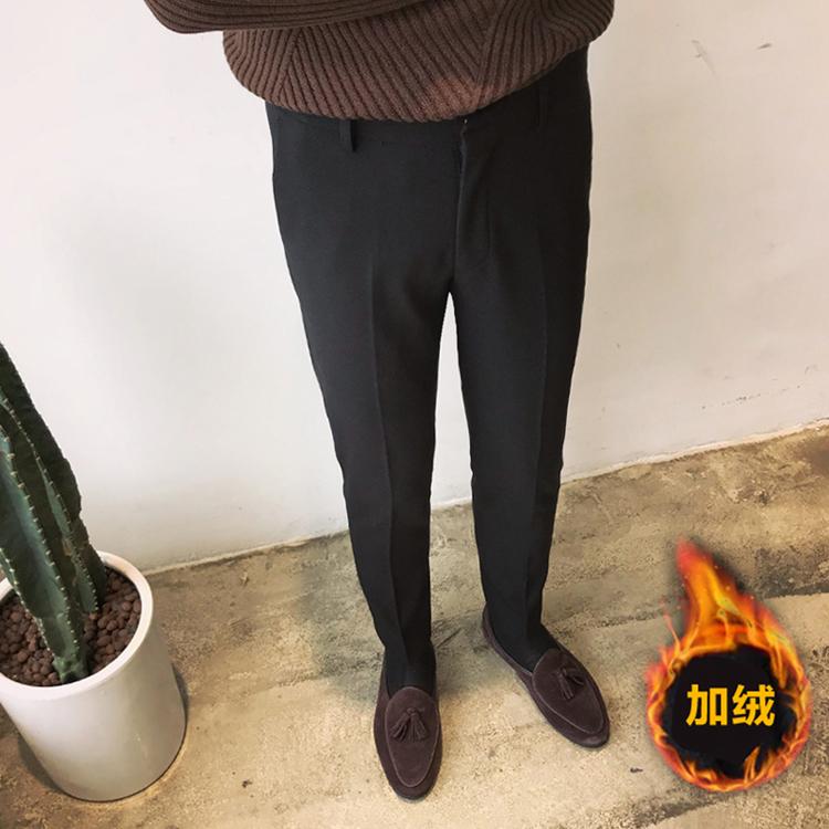 鹿三先生男士厚款休闲裤韩版修身加绒裤时尚休闲英伦西裤男裤子潮