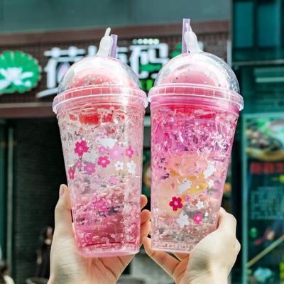 网红碎冰杯樱花可爱少女心学生夏日韩版杯子水杯吸管杯创意潮流