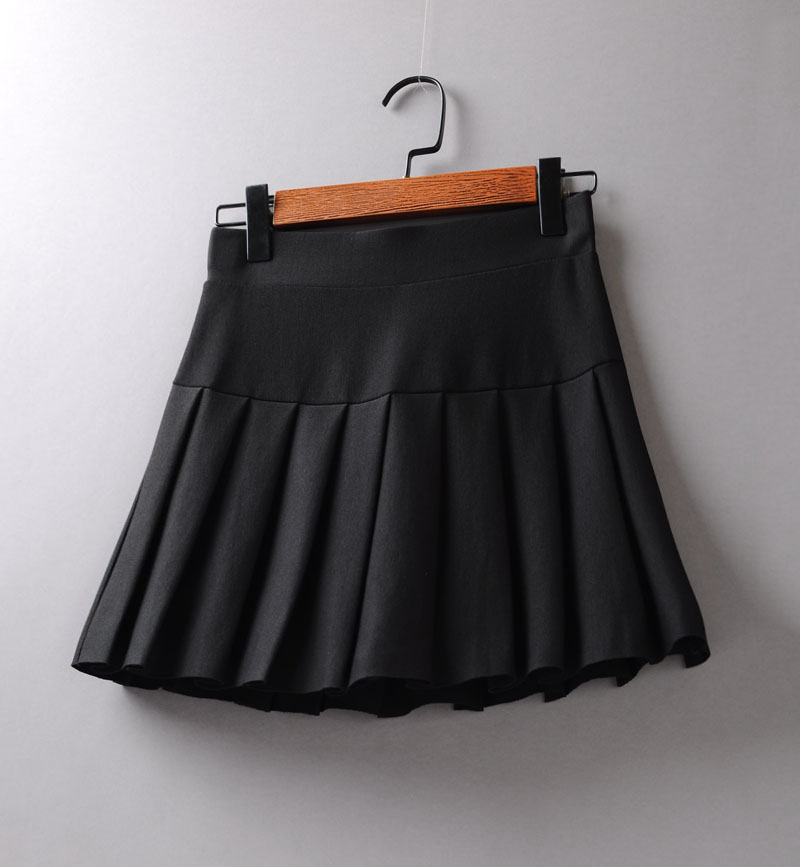 Elastic waist black skirt high waist LINED SKIRT 2021 spring A-line pleated skirt for women