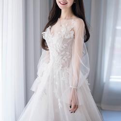轻婚纱旅拍轻纱2020新款春夏季新娘韩式超仙女梦幻森系齐地出门纱