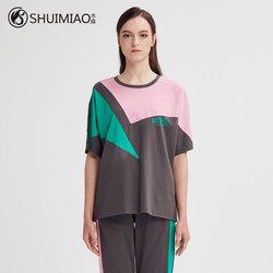 水淼大码女装2020新款夏装胖mm洋气宽松显瘦圆领拼贴短袖T恤8181