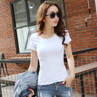 Ms. solid color summer new short-sleeved T-shirt 2017 short-sleeve T-shirt Slim wild bottoming shirt white shirt compassionate