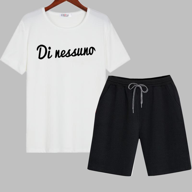 青少年短袖短裤套装男夏季潮流潮牌休闲帅气卡通男装一套搭配衣服