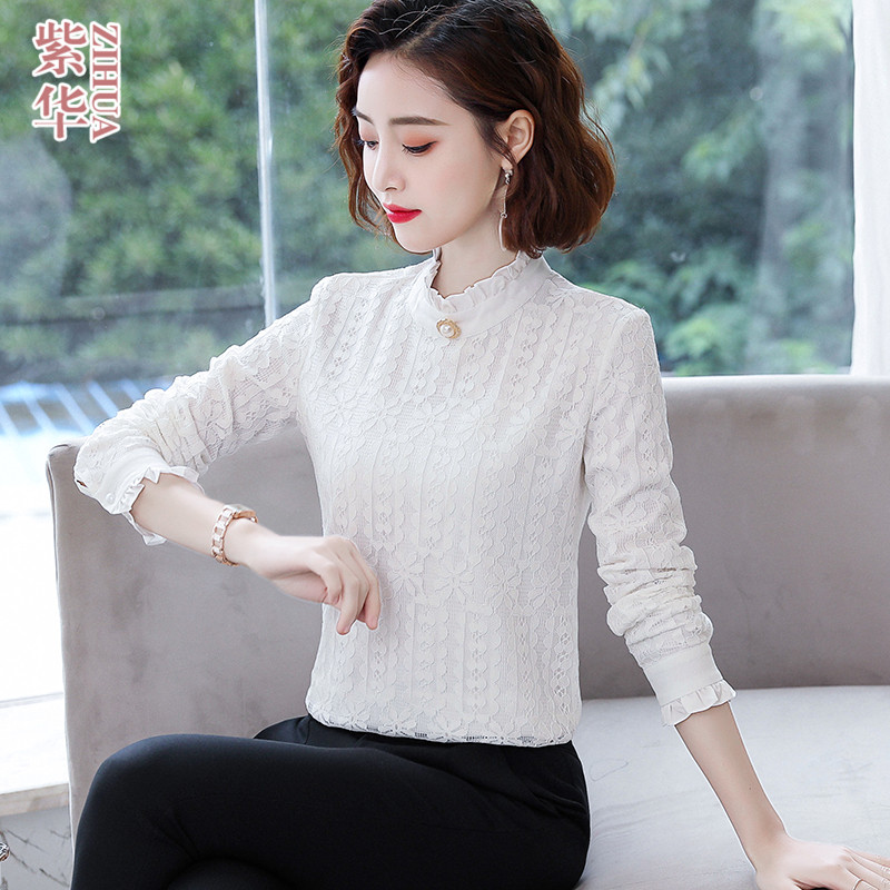 Lace stand collar shirt female long sleeve 2020 new autumn dress Korean light cooked top foreign style chiffon bottomed shirt inch