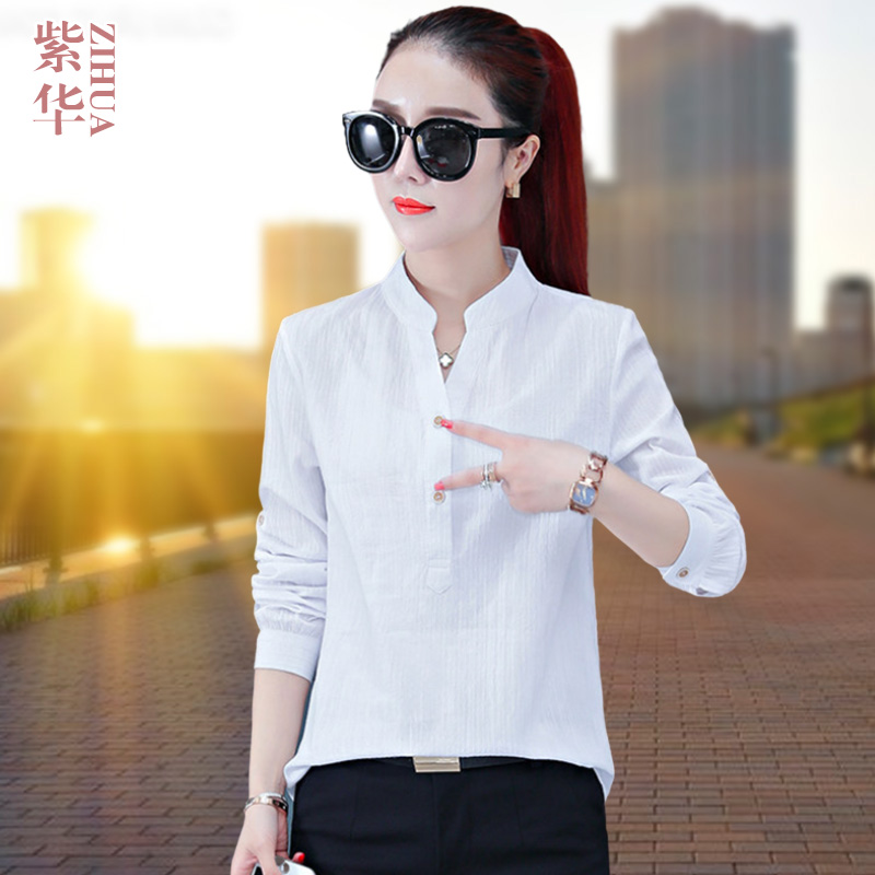Stand collar shirt womens 2020 new autumn loose Korean early autumn top seven sleeve light mature style pure cotton shirt