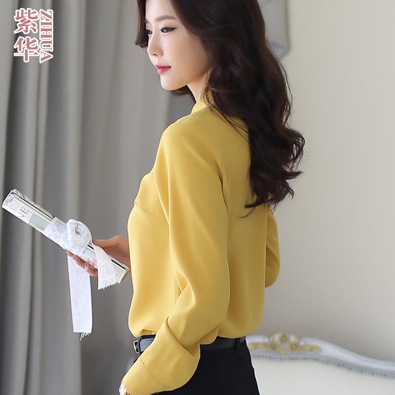 Stand collar shirt womens long sleeve 2021 autumn top light mature foreign style fashion Korean chiffon shirt professional bottom shirt
