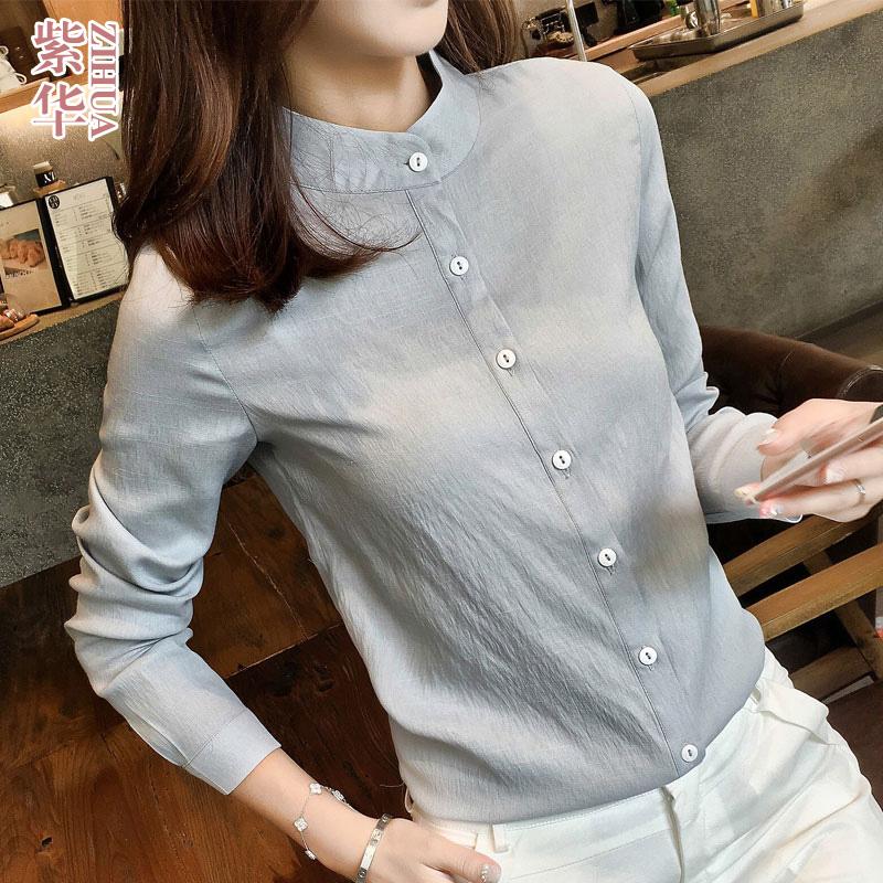 立领衬衫女2021新款秋装春款设计感小众韩版上衣新款轻熟风职业装