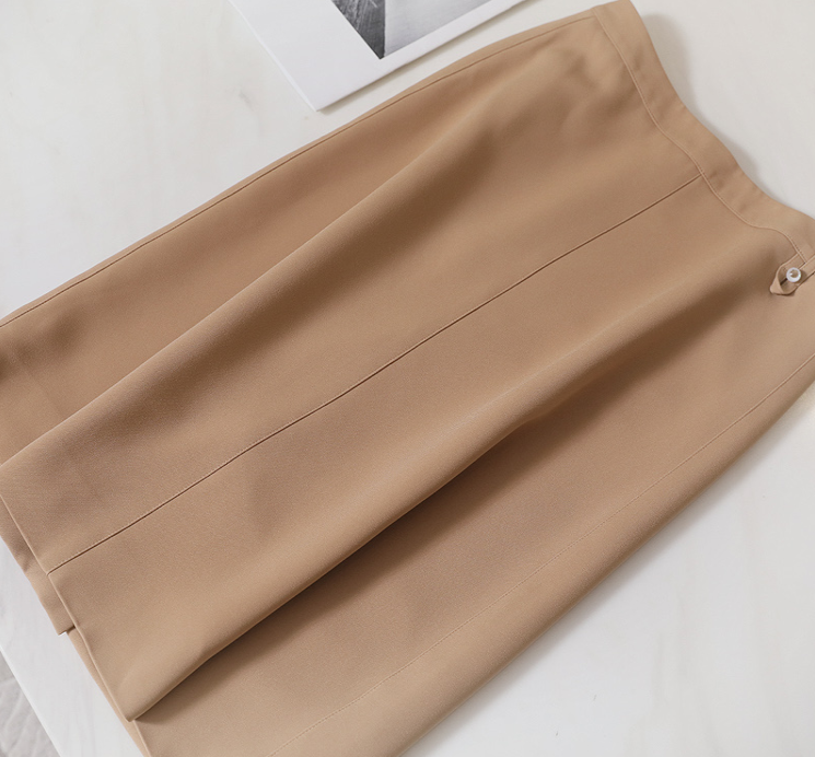 Light luxury elegant professional commuting summer comfortable micro elastic customer supplied fabric small A-line knee length skirt womens dress solid color