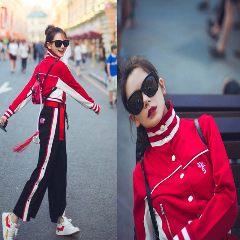 Qi Wei stars same clothes long sleeve short jacket stand collar color matching jacket suit sports casual womens wide leg pants