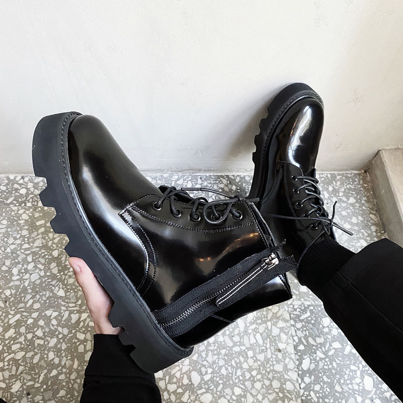 British autumn and winter mens thick soled bright leather boots lace up Chelsea boots high leather shoes high top boots mens Martin boots