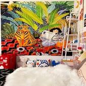 小众野生style背景布ins挂布手绘插画印花布料沙发盖巾挂毯装 饰布