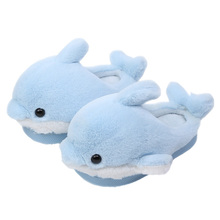Cute Dolphin Children's Slippers Boys and Girls Parents and Babies'Indoor Home Shoes New Kids' Cotton Slippers in Winter