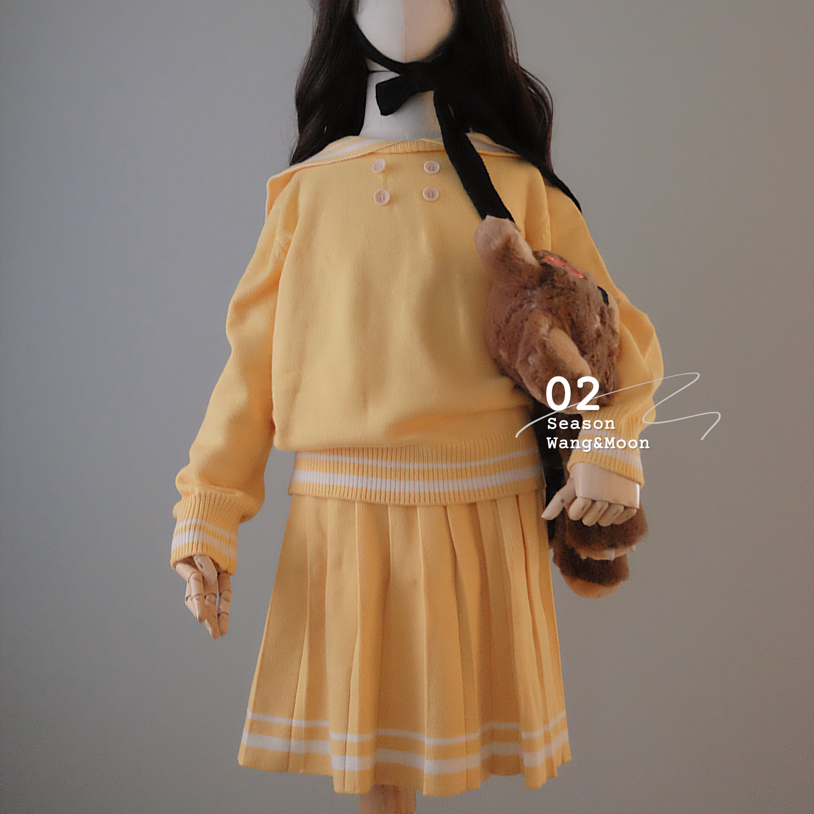 *Yueyuemei girl Erwang and moon academy wind net red foreign style girl autumn winter sailor sweater short skirt suit