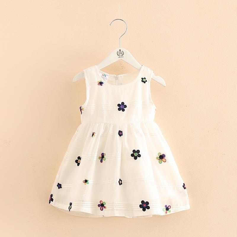 Ребенок жилет платье женщина 2017 летний костюм новая девушка ребенок ребятишки ребенок круглый вырез безрукавный белый платье принцессы сын