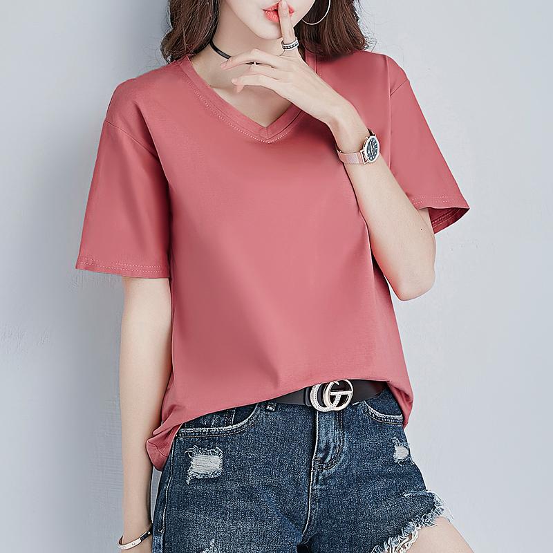(用39元券)纯色女短袖宽松2019新款夏装潮t恤