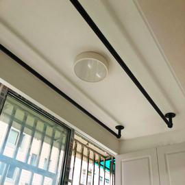 阳台晾衣杆永固定式晾衣架单杆室内飘窗简易挂凉式衣杆顶装晒衣杆