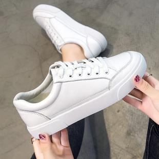真皮小白鞋 春季 女2021新款 热巴同款 网红百搭头层牛皮休闲平底板鞋