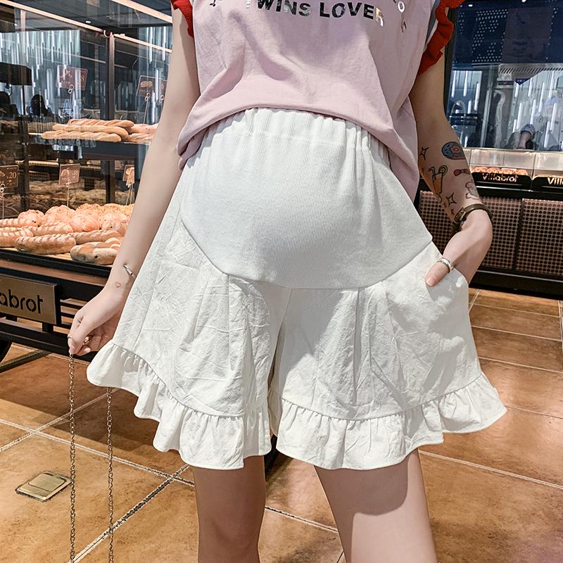 孕妇短裤夏季2019新款夏装薄款女时尚夏潮妈外穿宽松阔腿裤子白色(用5元券)