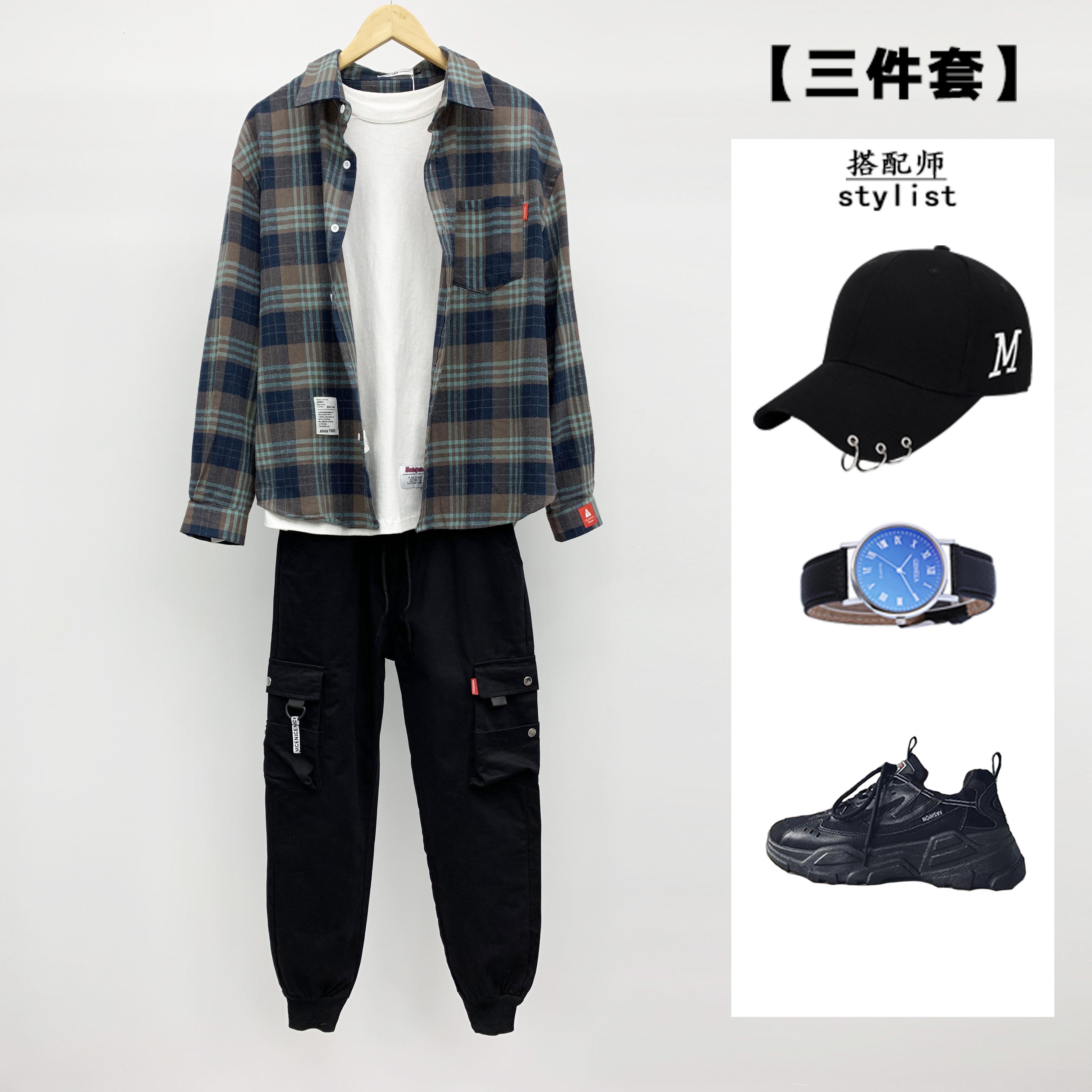 【三件套】男士+长袖卫衣九分衬衫