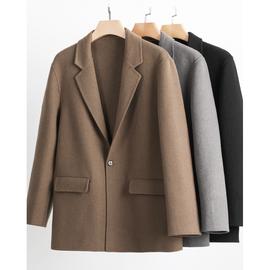双面呢痞帅毛呢大衣短款男士羊毛西装休闲宽松西服羊绒呢子男外套