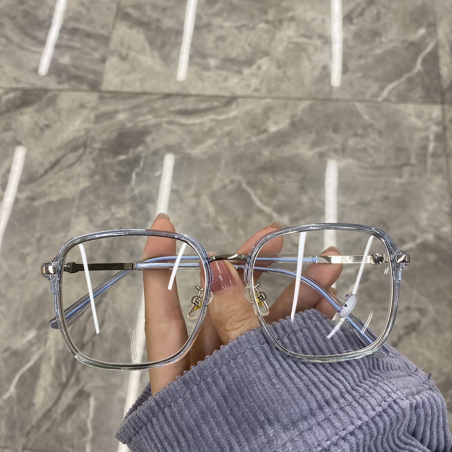 网红素颜眼镜女圆脸韩版个性时尚方框平光镜防蓝光防辐射透明框潮